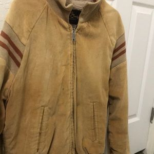 Beige and tan bomber jacket